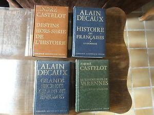 4 livres. librairie académique  Perrin.collection historique.andré castelot