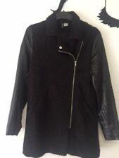 H&M Black Leather Sleeve Asymmetrical Zip Jacket Size US 8