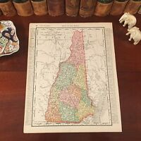 Large Original 1899 Antique Map NEW HAMPSHIRE Haverhill Concord Keene Dover Troy