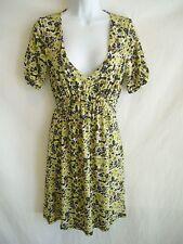 BCBG MAXAZRIA Rose Garden SS V-Neck Stretch-Knit Tie-Waist Dress $240 NWT sz S