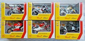 Full Set 6 pcs Burago Shell&Ducati 1/18 Motorcycles BOXED BBURAGO