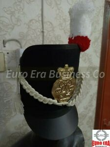 New Napoleonic British Shako HAT With Cord & Badge Repro 57,58,59 size available