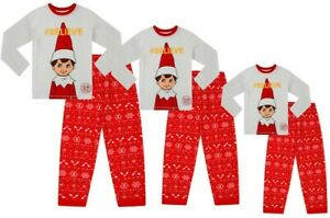 Official The Elf on The Shelf Family Long Pyjamas Christmas Matching Red White