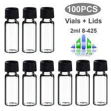 100 PCS Sample Vials + Caps 2ml 8-425 Glass bottle clear vial Screw Top HPLC GC