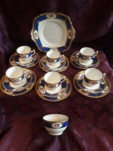 Royal Albert Crown China Tea Set In Cobalt Blue And Gold