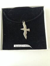 Seagull PP-B17 Pewter Pendant on a  BLACK CORD  Necklace