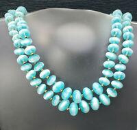Vintage Signed Lisner Way Cool MCM Aqua Blue Moon Glow 2 Strand Necklace