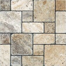 Travertine Silver Tumbled  Mosaic Tiles French Pattern On 300x300 Sheets Premium