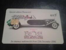 BT Special Edition Phonecard 101 Dalmatians Film, Value, £5.00, 1996, UK. Used.