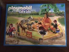 NIB PLAYMOBIL City Life 5968 Wild Animal Enclosure Playset Zebra Giraffe Ostrich