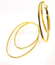 New Women's Lady 60mm Big 2 in 1 Hoop Creole Earrings 24K Gold Plated Leverback