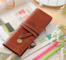 Women Vintage Pirate Style Roll Pencil Bag Pen Pocket Pack Make Up Tool Case Hot