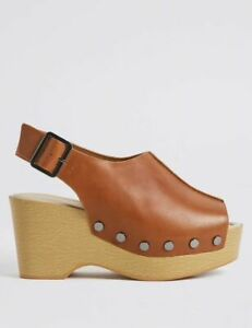 NEW RRP £55, M&S COLLECTION  Wide Fit Leather Wedge Heel Tan Sandals, sz 6