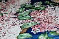Apple Blossom Flowers Leaves Pink Blue Background Floral Wallpaper Border  W1137