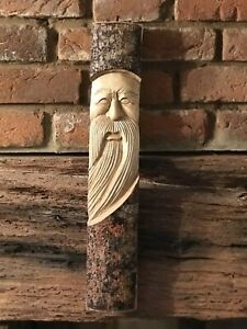 Green man wooden Wizard carving half tree log 40cm. Hand Made. Garden /Interior