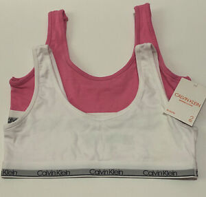 CALVIN KLEIN 2 Pack Bralette Set Color - Pink And White - XL 14/16