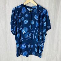 *VINTAGE* Navy Blue Floral Print SIZE 14/16 UK Short Sleeve Blouse V1