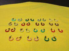 Earring Hoop 15 Pair White Green Red Pink  **LOT SALE 569**
