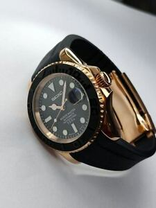 Custom Seiko Rose Gold Black Yachtmaster with Oysterflex Style NH36 Movement