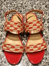 TORY BURCH Woven Orange Patent Leather Sandals Shoes