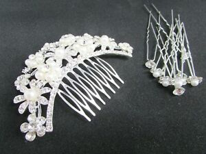 Brand New Items Wedding Beaded White Pearl Hair Slide and Sparkly Hair Clips