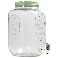 8 Litre Barrel Clear Glass Jar Cocktail Beverage Drinks Dispenser Storage Green