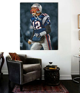Tom Brady Patriots # 12 CANVAS Print  24 x 20 -Wall Art New England Patriots