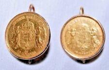 Goldohrringe, mit 10 Korona Goldmünze 1905 und 1908 Ungarn 21,6 Karat Gold