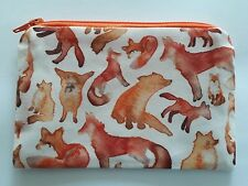 Handmade Zippy Cotton Fabric Coin Purse (Fully Lined) - Watercolour Fox Design