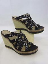 2a1cd3874f40 New BANDOLINO Espadrilles Wedge Sandal Crystal Embellished Suede Black Sz 5M