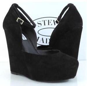 Women's Steve Madden Zenn Ankle Strap Platform Wedge Pumps Suede Black Size 8.5