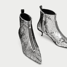 Ladies Sequin Ankle Boots Pointy Toe Low Heel Glitter Booties Front Zip Shoes Sz
