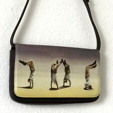 ICON Los Angeles Art to Wear Bag Handbag Purse Small Rectangle Brown Acrobats