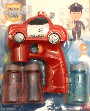 Red Police Car Bubble Gun Blower Blaster Flashing LED Lights & Music 3 Refill