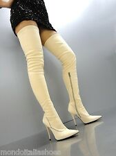 MORI OVERKNEE HIGH SEXY HEELS ITALY STIEFEL BOOTS STRETCH LEATHER BEIGE NUDE 43