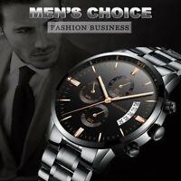 Luxury Stainless Steel Men Fashion Military Army Analog Sport Quartz Wrist Watch