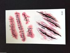 Body Art Scars Water Transfer Sheet for Halloween and Party / Temporary Tattoo