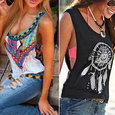 Women Summer Ethnic Vest Tops Tee Shirts Loose Fit Holiday Beach T-shirt Blouse