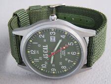 Men's WW2 Military Army Infantry Style Watch, Analog, Quartz, Date, Canvas Band