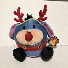 "Disney Parks Eeyore Reindeer 6"" Round Stuffed Plush New Pooh Christmas"