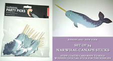 24 NARWHAL PARTY PICKS Canape Sticks GREY SEA CREATURE Kikkerland SNACK SKEWERS