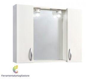 Specchio specchiera da bagno arredo 2 ante 2 luci led legno laccato bianco 30870