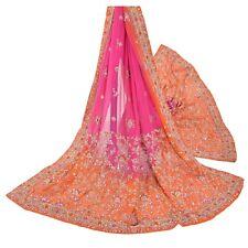 Sanskriti Vintage Pink Heavy Dupatta 100% Pure Georgette Silk Hand Beaded Stole