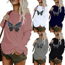 Plus Size Womens One Shoulder Butterfly Printed Tops Summer Beach Loose Blouse