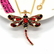 Dragonfly Red Rhinestone Crystal  Pendant Betsey Johnson Sweater Chain Necklace