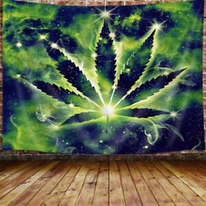 Weed Tapestry, Cool Green Marijuana Small Tapestry, Trippy Stoner Tapestries
