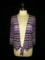 CHICO'S Size 2 12 14 L Jacket Cardigan Top Purple Black Zig Zag 3/4th Sleeve