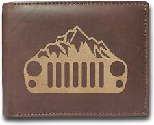 Jeep Wrangler Mountain Grill Cowhide Leather Laser Engraved Engraving Wallet