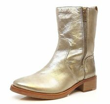 Tory Burch Halle Gold Metallic Leather Bootie Boots sz 10 M