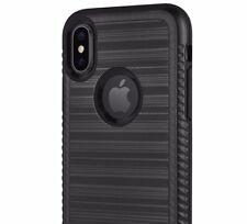 iPhone X / XS - HARD HYBRID BRUSHED SILK SLIM FIT ARMOR SKIN CASE COVER BLACK